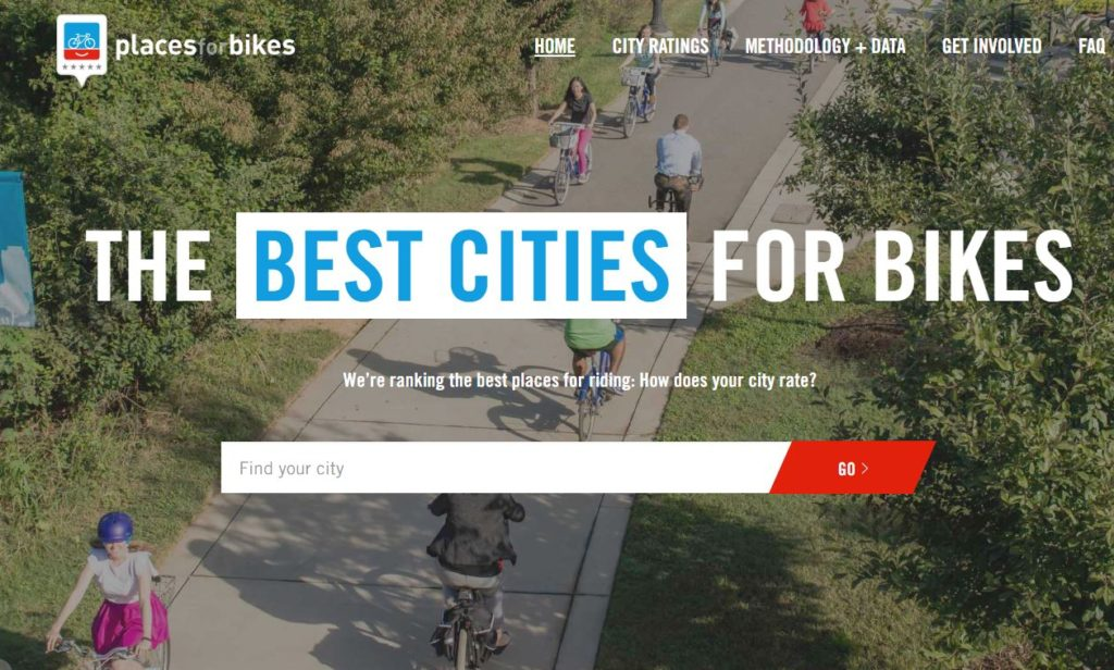 City Bikability Ratings from People for Bikes